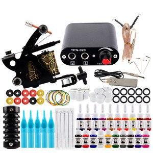 Starter Tattoo Kit One Coils Gun 40 Colors Pigment Inks Set Mini Power Supply Permanent Makeup Body Art Tattoo Machine Set(China)