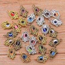 10 pçs 12*19mm 3 cores fátima hamsa mão e 9 cor mal olho espaçador talão encantos para diy pulseiras jóias feitas à mão