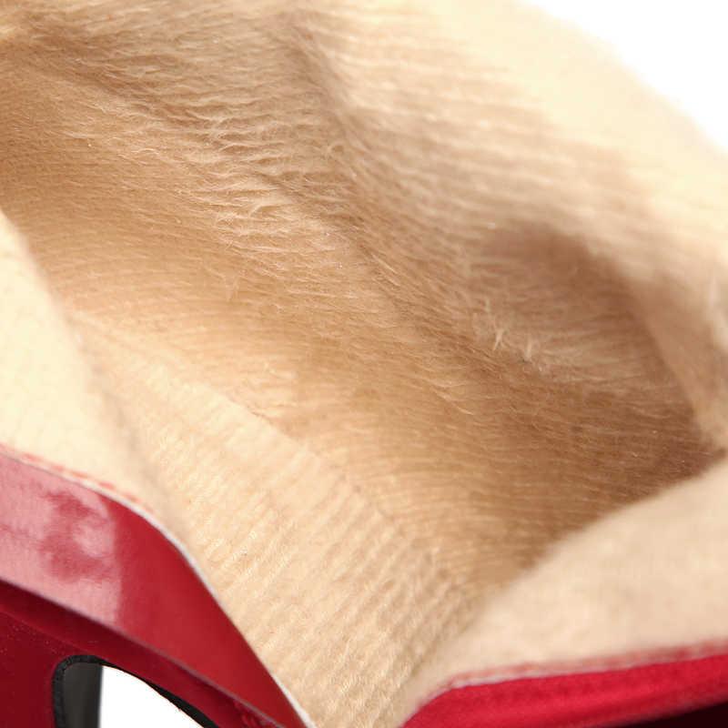 Kadın botları artı boyutu orta buzağı çizmeler kadın kış yüksek topuklu ayakkabı ayakkabı kadın süet platformu kış ayakkabı sıcak kürk ayakkabı 43