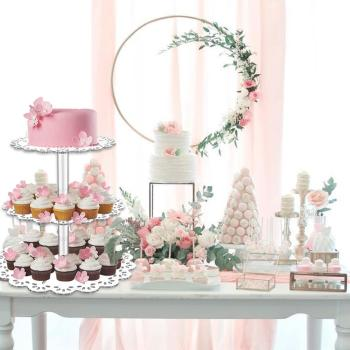 Acrylic Cupcake Cake Stand Set Display Rack Stands for Birthday Party Cakes Decor Stand Table Candy Bar Table Decor Tools hot assemble and disassemble cake holder round acrylic 3 4 tier cupcake cake stand decorating birthday tools party stands
