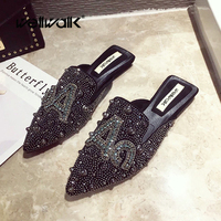 Fashion Loafers Women's Shoes Home Slippers Unicorn Rhinestone Stud Rivet Ladies Dress Designer Slides Female Flats Mules 2019