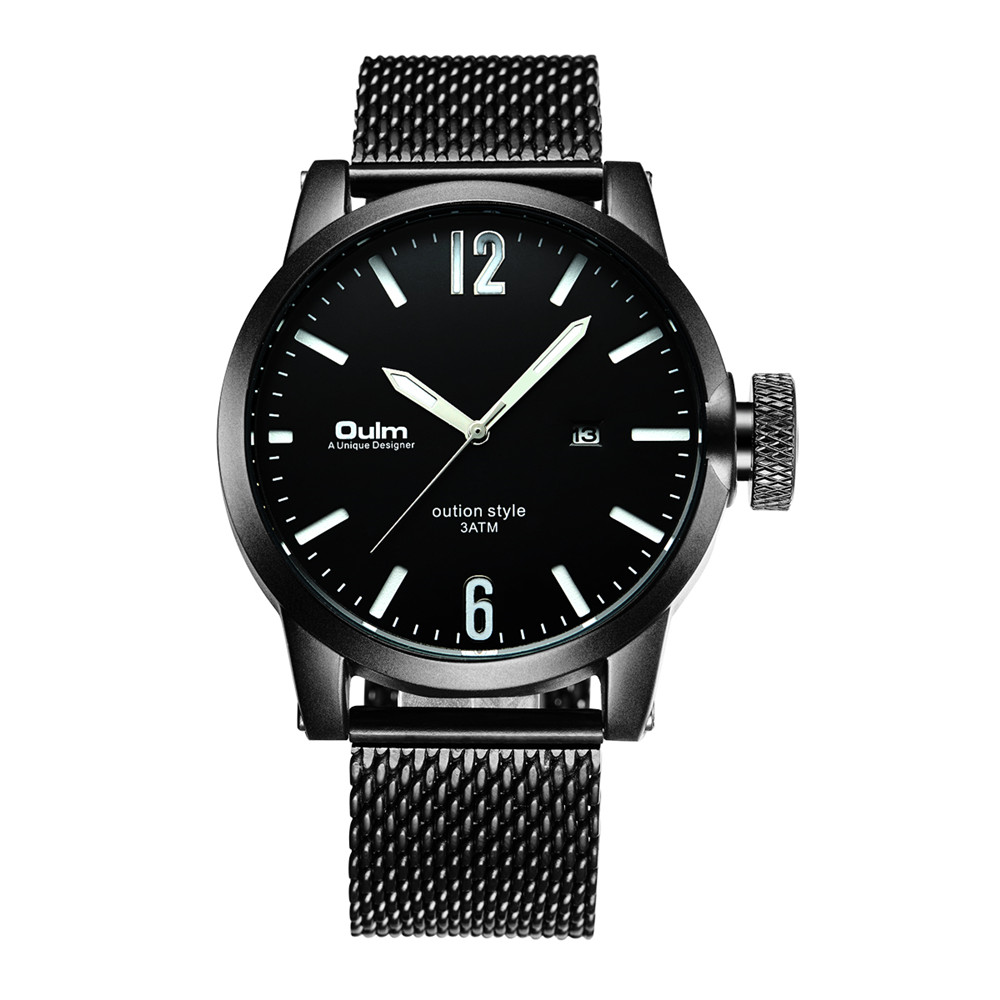 Man Watches Oulm Military Sports Watches Men Luminous Watch Fashion Black Mesh Band Quartz Watch relogio masculino reloj hombre