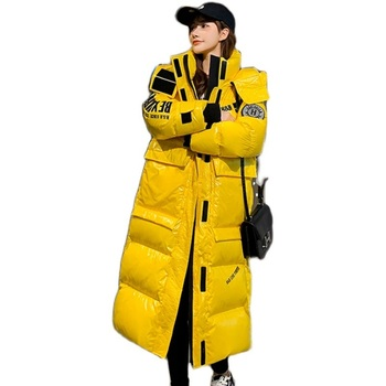 2020 New Hooded Ladies Coat Long Parkas Oversize Winter Jacket Women Bright Glossy Thick Down