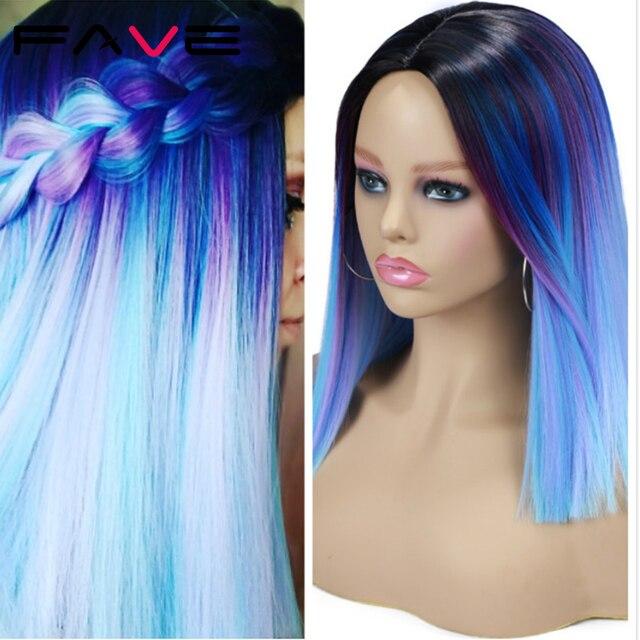 Женский короткий парик из синтетических волос FAVE Ombre, синий, фиолетовый, Радужный цвет, прямые волосы средней длины, Термостойкое волокно для косплея