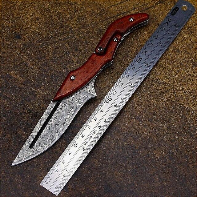 DEHONG  Damascus Mechanical folding Knife Fashion D2 steel folding knife outdoor folding knife pocket knife jungle hunting knife 6