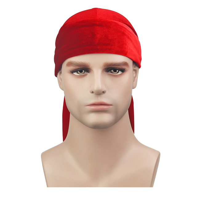 Velvet Long Tail Durag Men Turban Women Chemo Cap Breathable Bandana Hat Unisex Headwarp Elastic Indian Bonnet High Quality 2