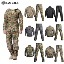Men Army Military Uniform Camouflage Tactical Suit Special Forces Combat Shirt Coat Pant Set Camouflage Militar Soldier Clothes