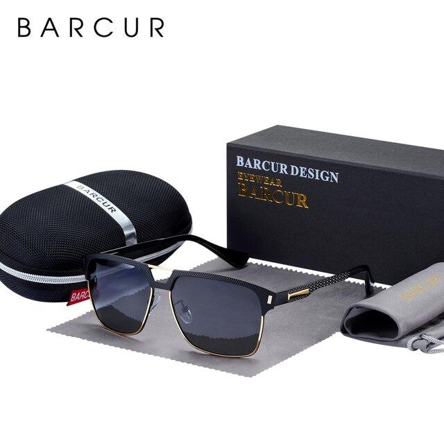 BARCUR Black High Quality Polarized Sunglasses Men Driving Sun Glasses for Man Shades Eyewear With Box