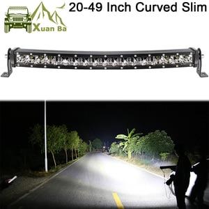 Slim Curved Led Light Bar For Car 12V 24V 4x4 Off road 4WD Atv Suv Trucks Combo Beams Barra Led Driving Work Lights(China)