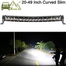 Slim zakrzywione światła Led Bar dla samochodów 12V 24V 4x4 Off road 4WD Atv Suv ciężarówki Combo belki Barra Led jazdy światła robocze
