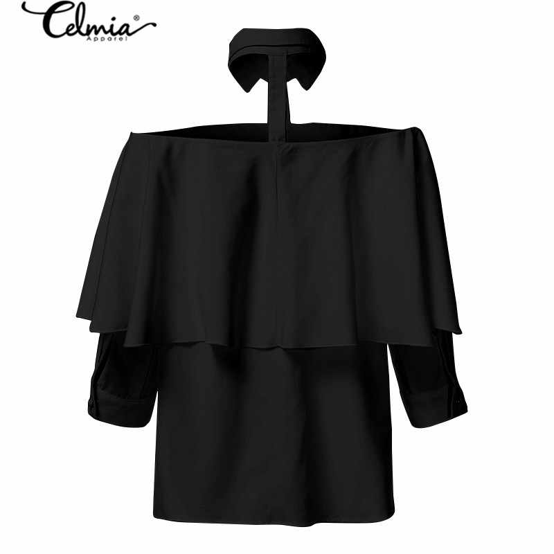 탑 패션 여성 오프 숄더 섹시한 셔츠 Celmia 2020 Summer Halter White Blouse 3/4 Sleeve Casual Solid Office Elgant Blusas 7