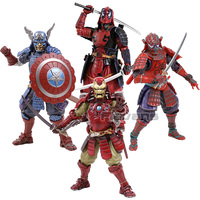 MEISHO Kabukimono Deadpool Samurai Iron Man Captain America Spiderman PVC Action Figure Collectible Model Toy