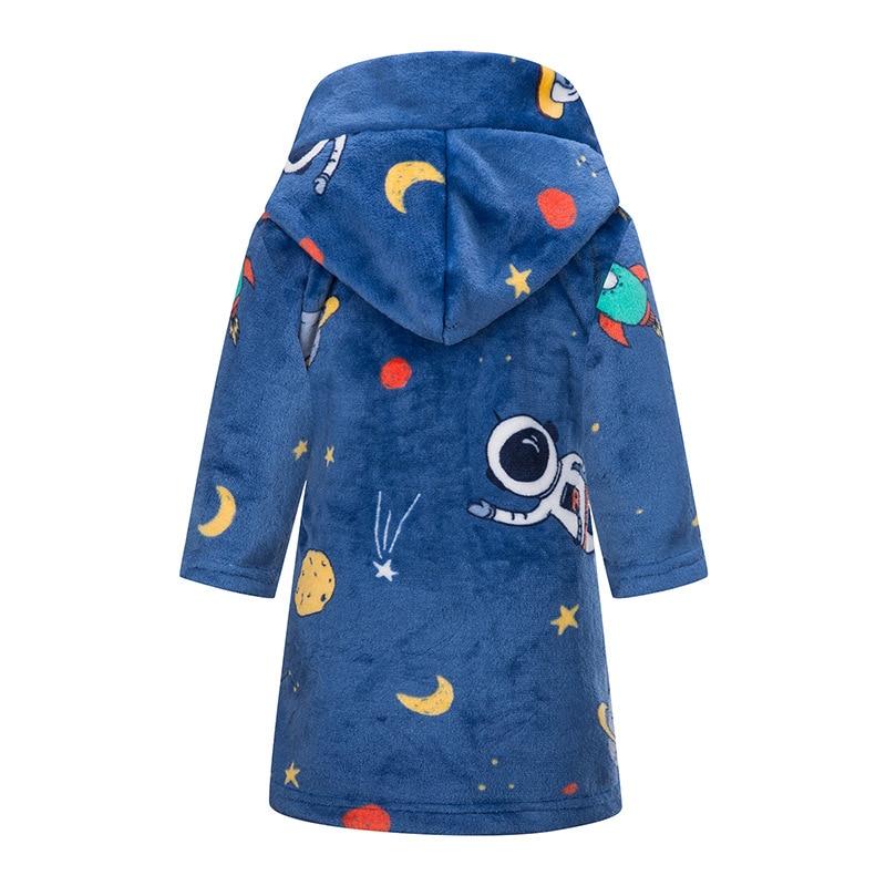 IYEAL Kids Bathrobe Flannel Sleepwear Baby Boys Robes For Girls Clothing Winter Warm Home Wear Children Robes Clothing Sleepwear 4