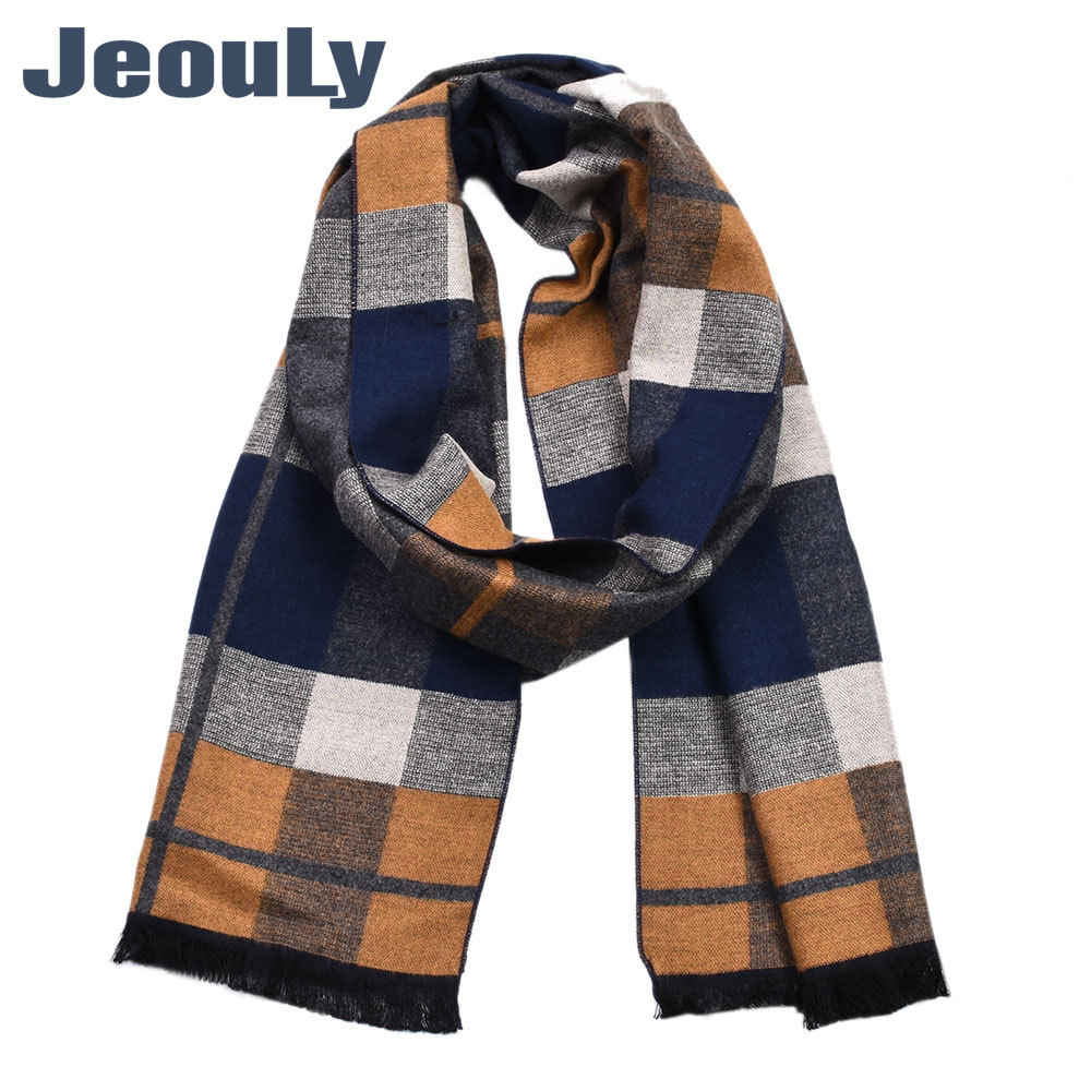 Winter MEN'S Scarf Plaid England Europe And America Top Grade Contrast Color Rayon Scarf Shawl Cashmere