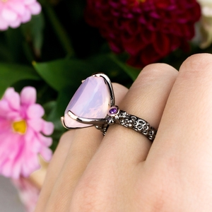 Image 2 - DreamCarnival1989 Big Radiant Cut Zirconia Solitaire Wedding Rings for Women Pink CZ Black Rose Gold Color Dating Gift WA11702