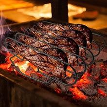 Nieprzywierający nóż do steków ze stali nierdzewnej stojak do pieczenia Rib Rotisserie akcesoria kuchenne grillowanie narzędzia do grillowania grill