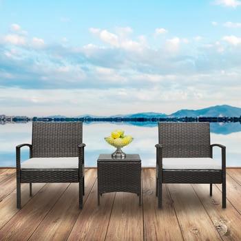 2pcs Arm Chairs 1pc Coffee Table Rattan Sofa Set Brown Gradient 1
