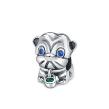 Strollgirl 100% 925 Sterling Silver Cute Lion Zircon Bead Animal Mascot Charm Fits Pandora Bracelet Women Christmas Jewelry Gift