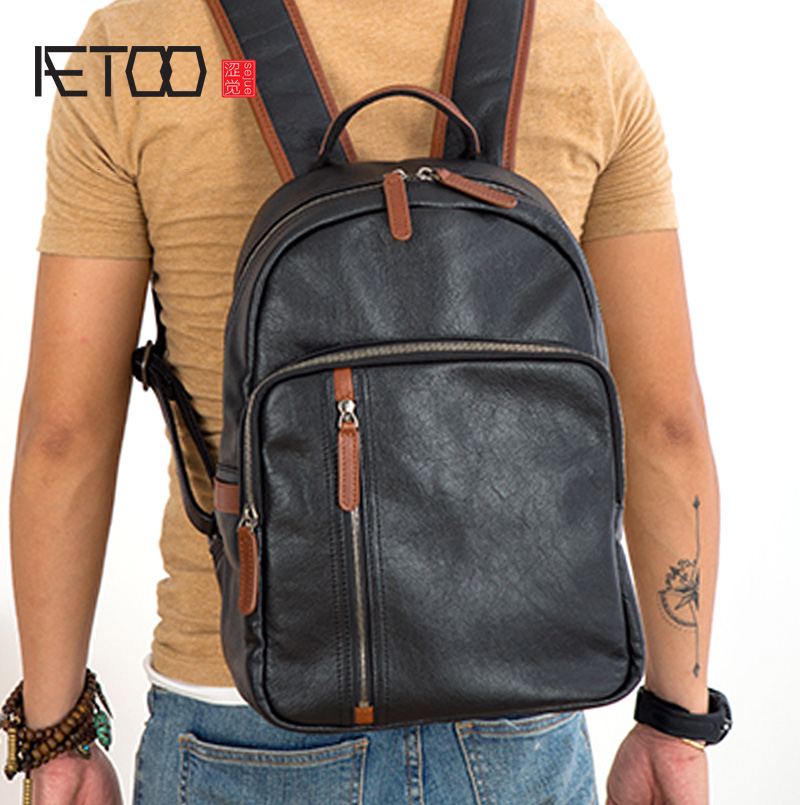 AETOO Men's Casual Travel Large-capacity Retro Computer Multifunctional Street Fashion European and American Tide Brand Leather
