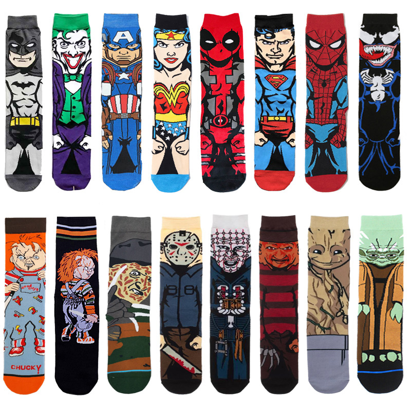 Cartoon Anime Socks Batman Superman Venom Joker Cosplay Fashion Sock Novelty Funny Casual Men Sock Skateboard Socks