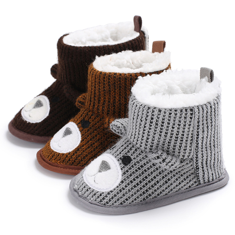 Newborn Baby Shoes Boots Toddler Cotton Sole Cute Winter Warm Villus Inside Bear Face First Walkers Infant Baby Crib Shoes