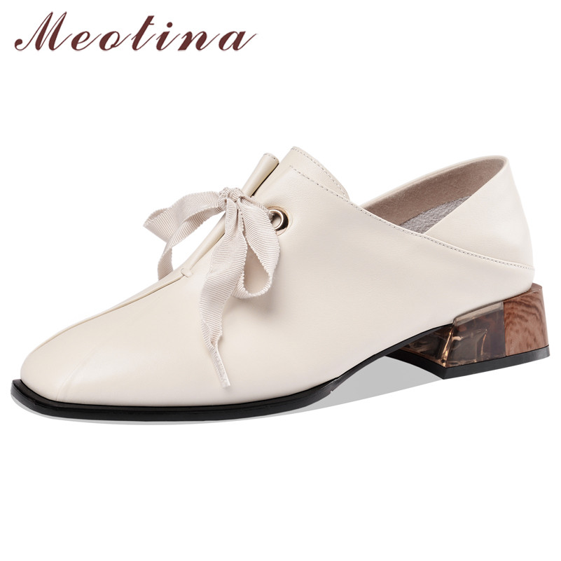 Meotina High Heels Women Pumps Natural Genuine Leather Chunky Heels Shoes Real Leather Square Toe Shoes Ladies Spring Size 34-39