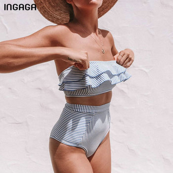 INGAGA 2020 Bandeau Swimwear Women High Waist Bikini Set Sexy Ruffle Swimsuit Striped Print Biquini Summer Beach Bathing Suits цена 2017