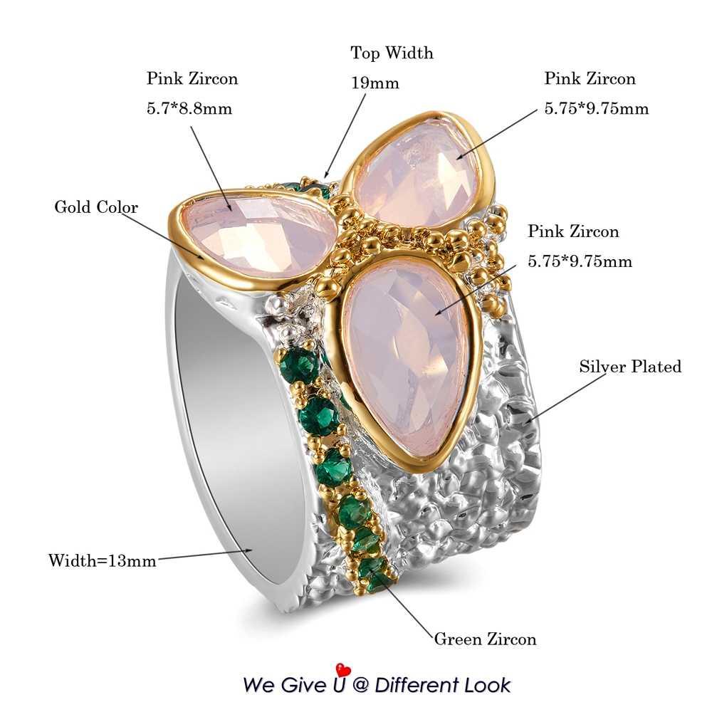 DreamCarnival 1989 топ продаж Три-циркон кольцо серебро и золото цвет с розовым цирконием грубой поверхностью уникальный шик ювелирные изделия WA11736