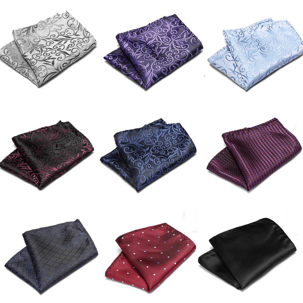 Wedding Pocket Square 100%Silk Match For Suit Tie Men's Handkerchief Accessories Jacquard Solid Dots Stripes Pattern