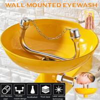 Stainless Steel Safety Equipment Emergency Eye Wash Station Wall Mounted Double port Eye Wash Bowl Washer Fist Aid Tool