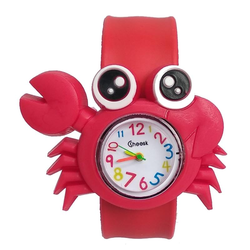 High Quality Child Toy Crab Shape Kids Watches Silicone Children Watch Boys Girls Clock Quartz Waterproof Watch Relogio Infantil