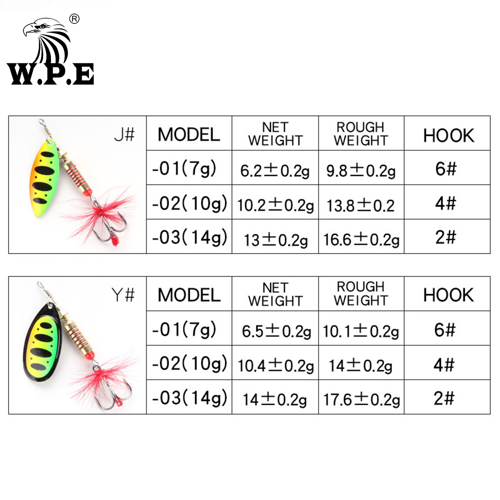 W.P.E Brand Spinner Lure 1pcs 6.5g/10g/13.5g 18 color with Treble Hook Metal Spoon Lure Hard Fishing Lure Fishing Tackle Bait 3