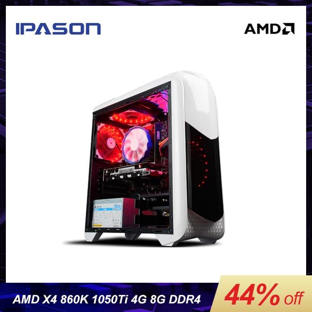 IPASON Office Desktop Computer gaming Card 1050TI 4G AMD X4 860K RAM DDR3 8G 120G SSD barebone system windows 10 cheap Gaming PC