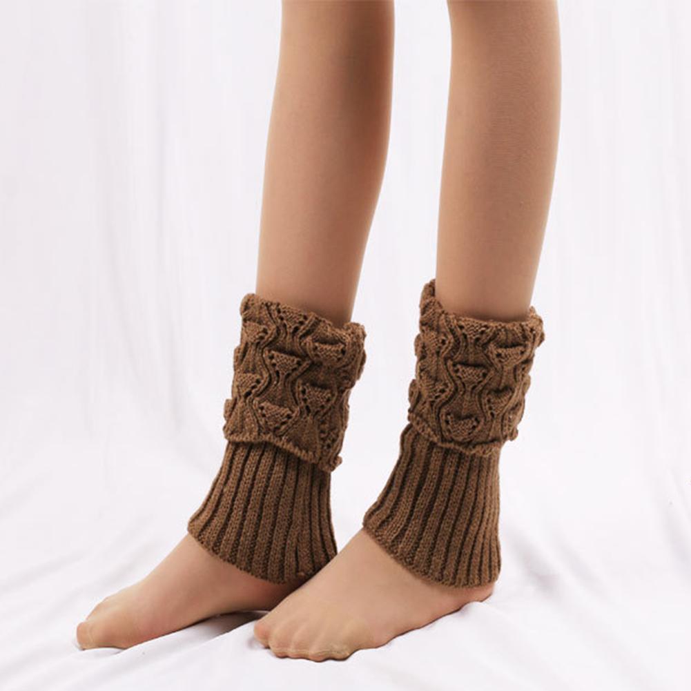 Women Winter Leg Warmers Lady Crochet Knit Fur Trim Boot Socks Toppers Cuffs FI