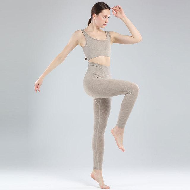Seamless Leggings Women Gym Clothing Female High Waist Yoga Pants Tracksuit Women Fitness Clothing 2 Piece Set Long Sleeve Top 2