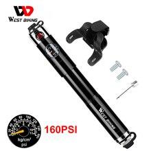 WEST BIKING велосипедный насос высокого давления 160psi, алюминиевый велосипедный воздушный насос Presta Schrader Valve, велосипедный насос для шин с шлангом