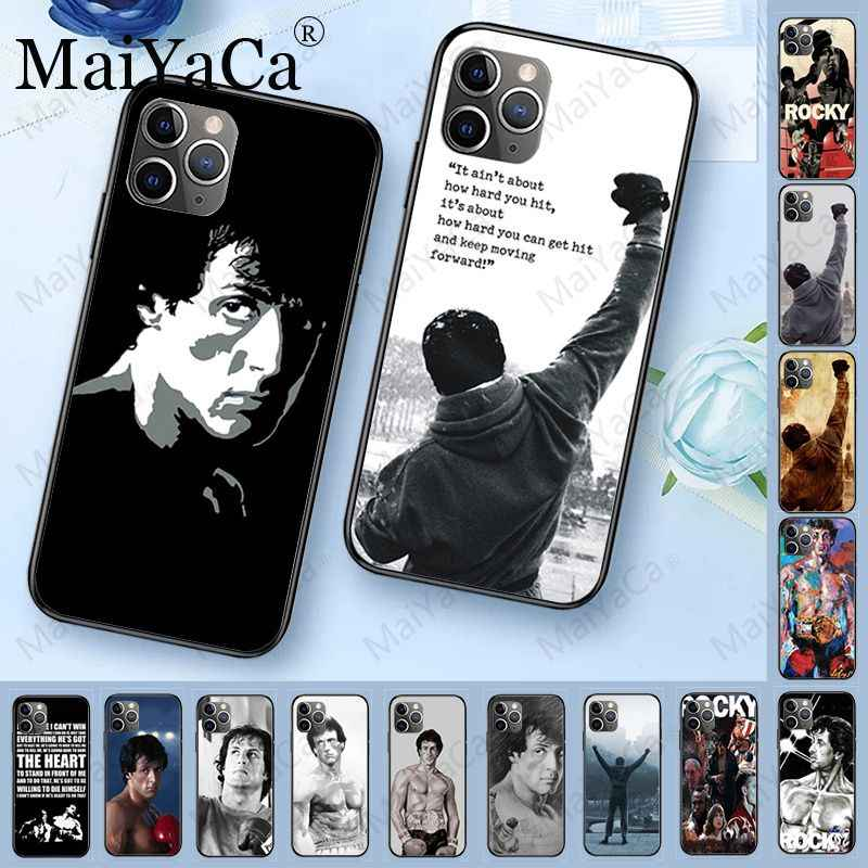 Rocky balboa diy luxo high-end caso protetor para iphone 11pro 5S 6s 7 8plus x xs xr xsmax coque celulares