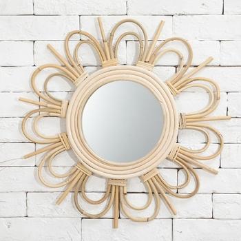 Rattan innowacyjna sztuka Homestay dekoracja lustro do makijażu opatrunek łazienka ściana 54DC tanie i dobre opinie CN (pochodzenie) ROUND 54DC5AC403133-C Szkło