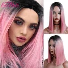Женские термостойкие парики HANNE, розовые/коричневые/серые прямые синтетические волосы на плечах, черные/белые вечерние парики для косплея