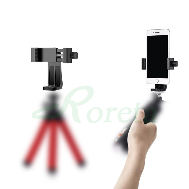 Roreta Tripod Mount Adapter Rotatable Stand Mount Adapter For iPhone xiaomi Samsung smart phone Tripod Stand 2