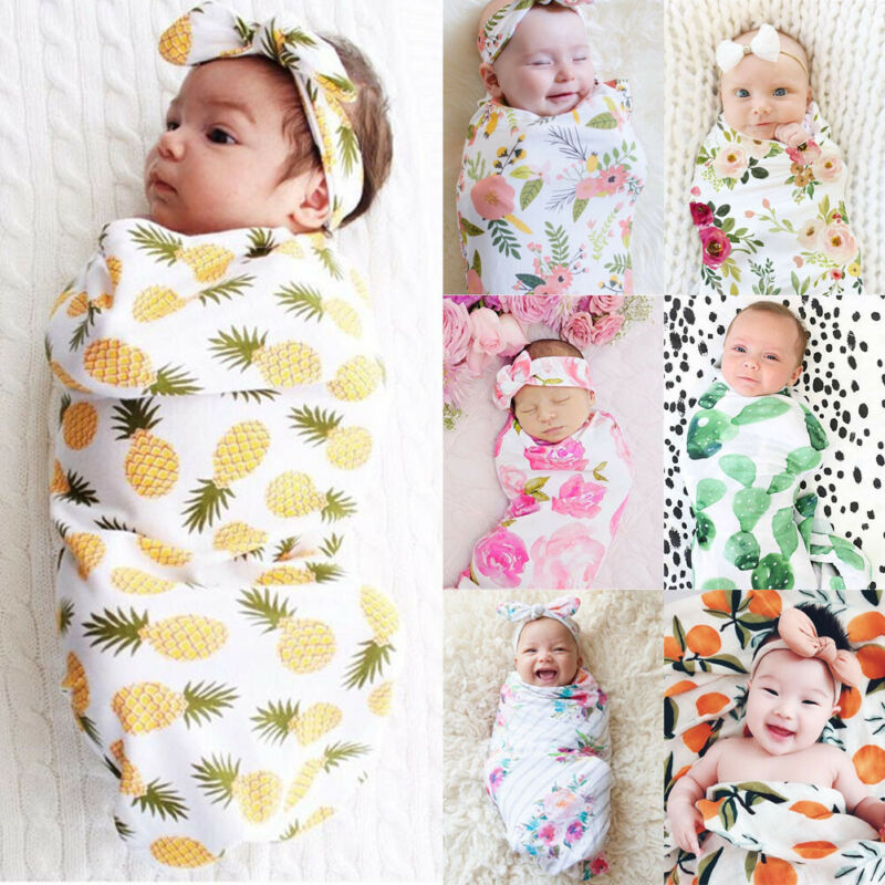 2019 Brand New Style 2pcs Soft Infant Swaddle Muslin Blanket Newborn Baby Wrap Swaddling Blanket