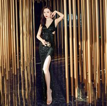 Evening Dress Hollow Split Women Party Dresses 2019 Fashion Sleeveless Robe De Soiree V-neck Backless Formal Gowns C313