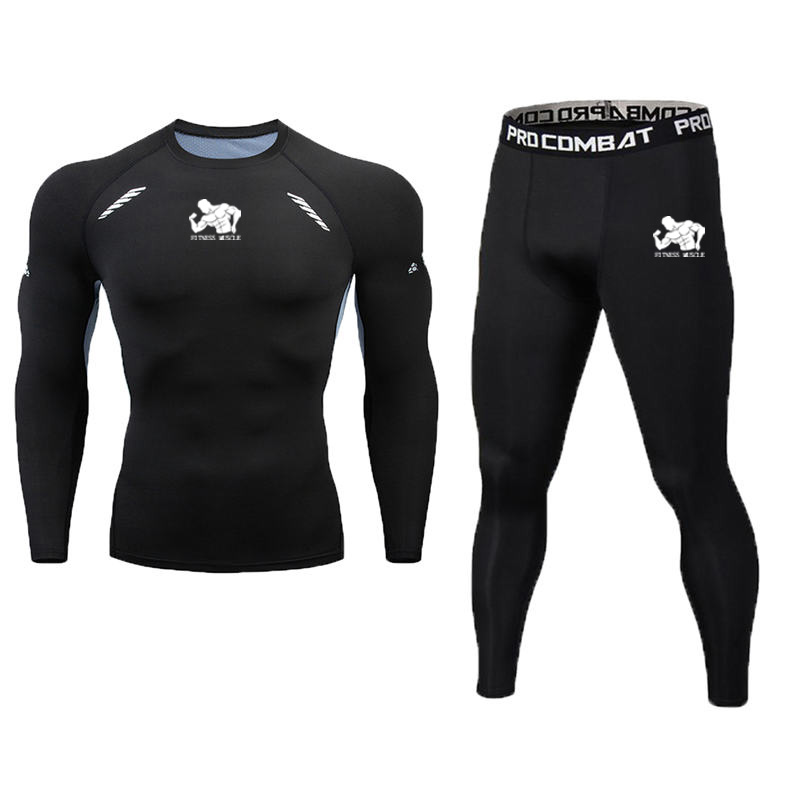 2020 New Quick Dry Fitness Muscle Men's Tight Sets Compression Suits Basketball Tights Gym Fitness Jogging Sportswear Gym Tshirt