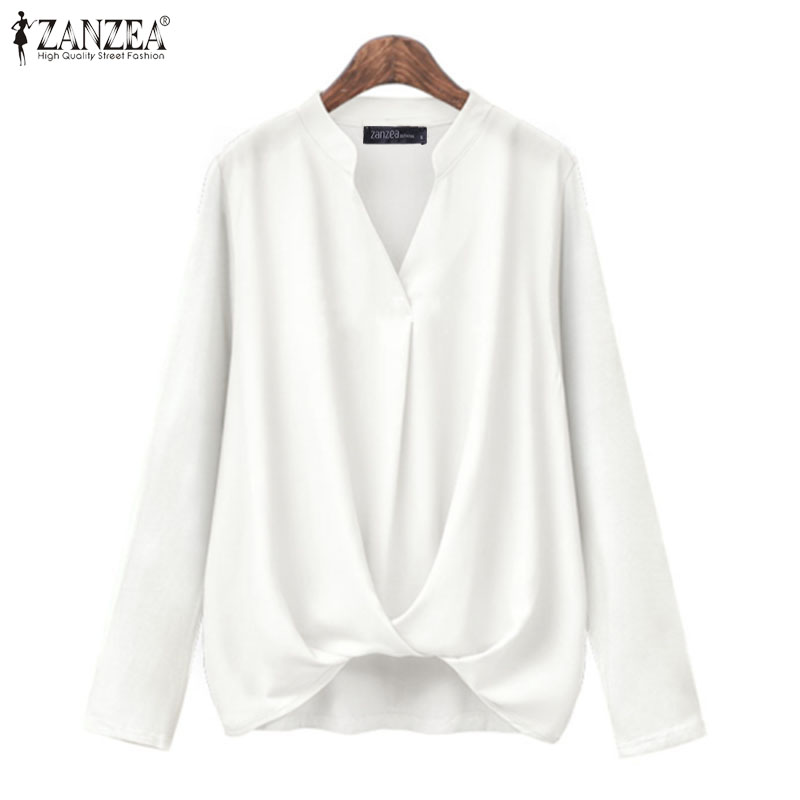 Women Blouse Casual V Neck Shirts ZANZEA Fashion Tunic Work White Blusas 2020 Spring Long Sleeve Tops Shirts Plus Size Chemise