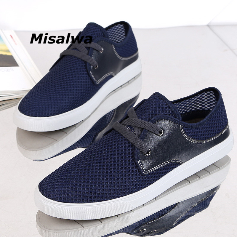 Misalwa 2019 Men Shoes Summer Sneakers Mesh Breathable Lace Up Casual Moccasins Basic Espadrille Big Size 36 48 Drop Shipping in Men 39 s Casual Shoes from Shoes