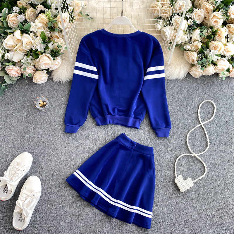 Корейский Осенний новый костюм из двух предметов пуловер с круглым