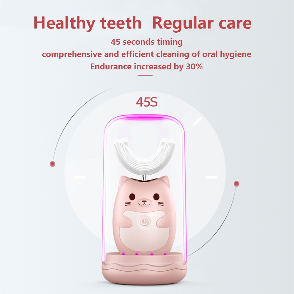 360 Degrees Intelligent Automatic Sonic Children's Electric Toothbrush U Type 3 Modes Tooth Brush USB Charging Tooth Whitening