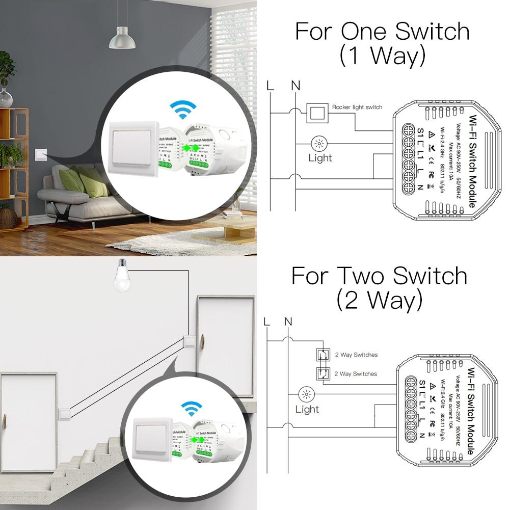DIY WiFi Smart 1/2 Way 2 Gang Light Relay Module Dimmer Breaker Switch Wireless Remote Control Work with Alexa Google Home
