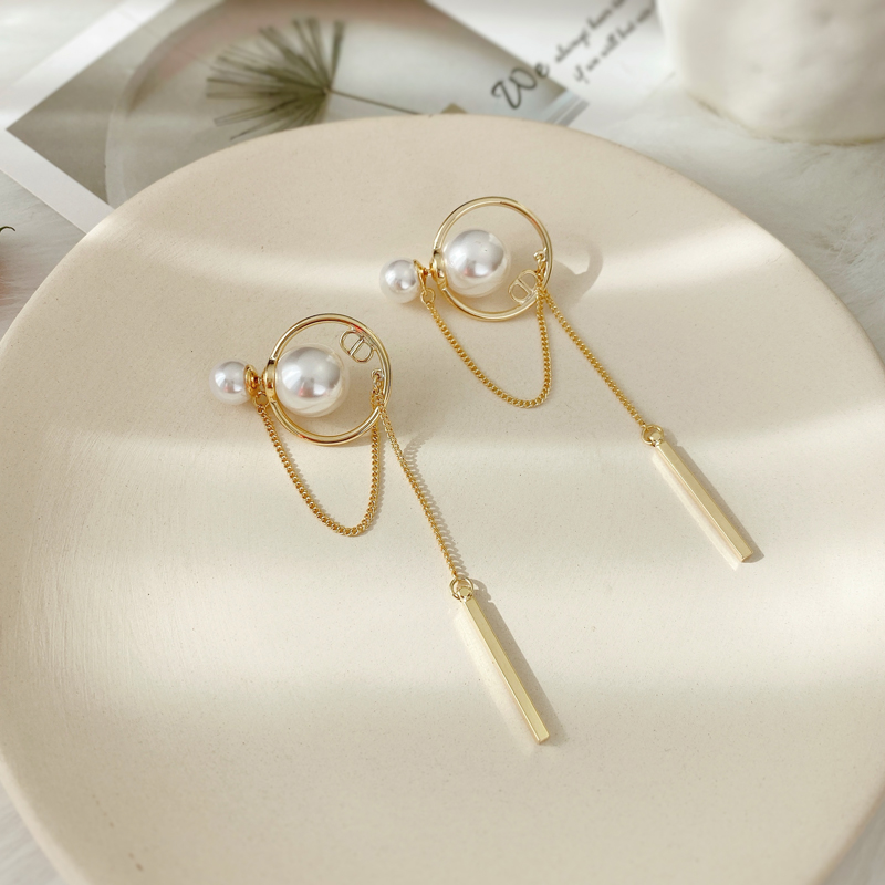 Fashion Dangle Earrings For Women Long Tassels Eardrop Pearl Earrings Minimalist Style Joker Girl Personality Earrings