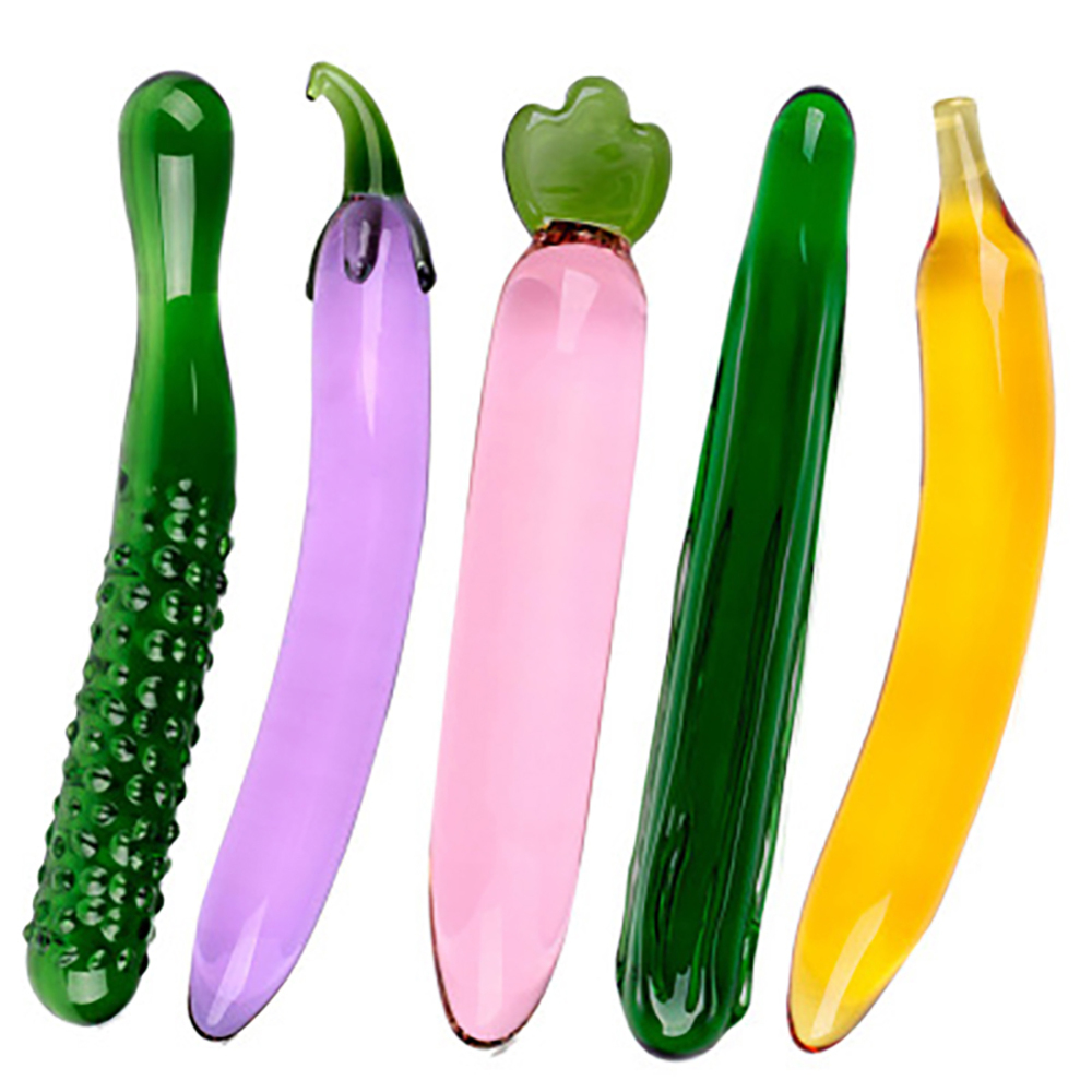 Pyrex Glass <font><b>Dildo</b></font> Artificial <font><b>Penis</b></font> Realistic <font><b>Dildos</b></font> For Women Fruit Vegetable Shape Female Masturbation Device Anal Plug <font><b>Sex</b></font> <font><b>Toy</b></font> image